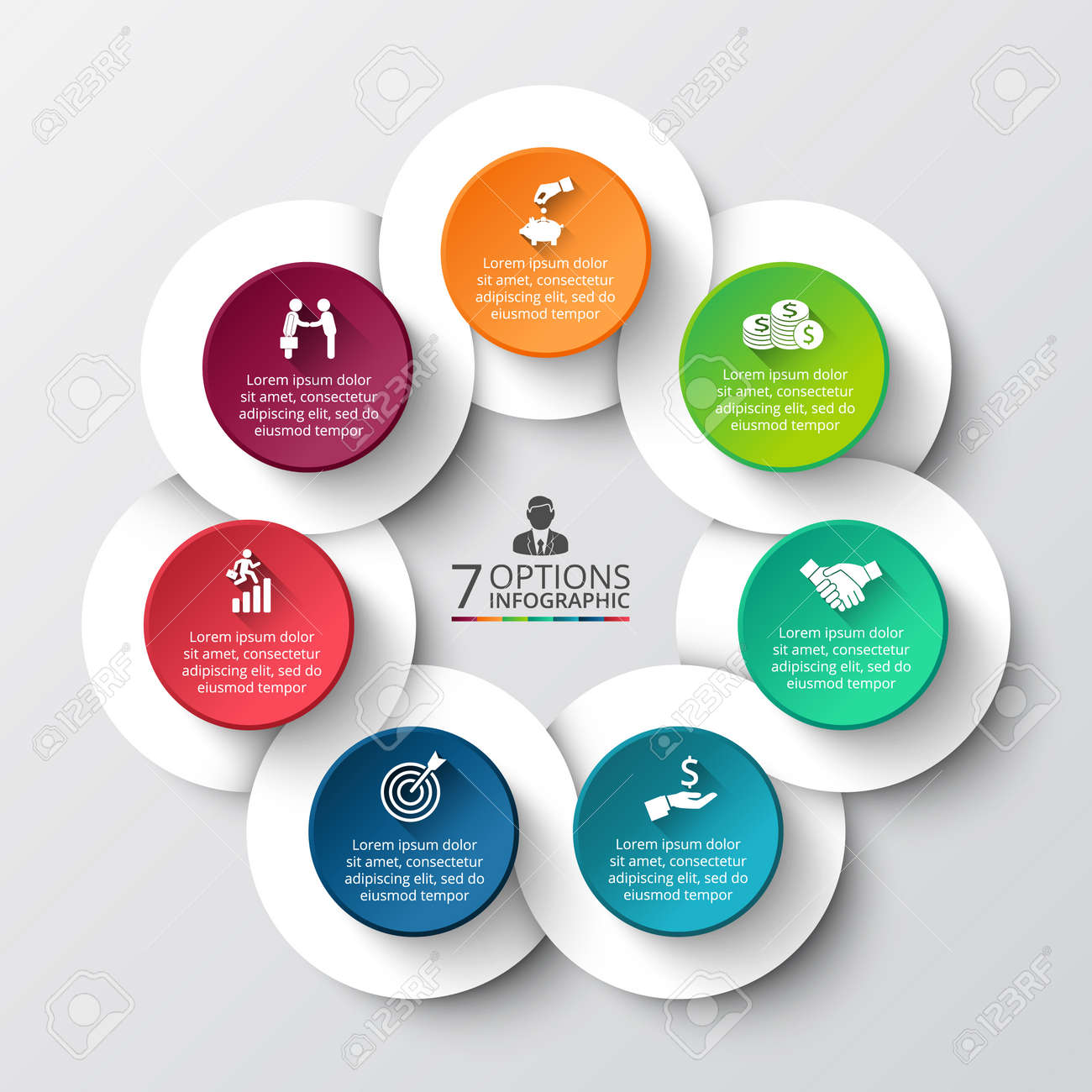 vector infographic design template business concept with 7 options