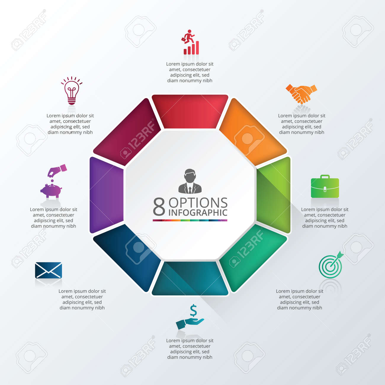 Vector infographic octagon design template business concept vector vector infographic octagon design template business concept with 8 options parts steps or processes can be used for workflow layout diagram cheaphphosting Images