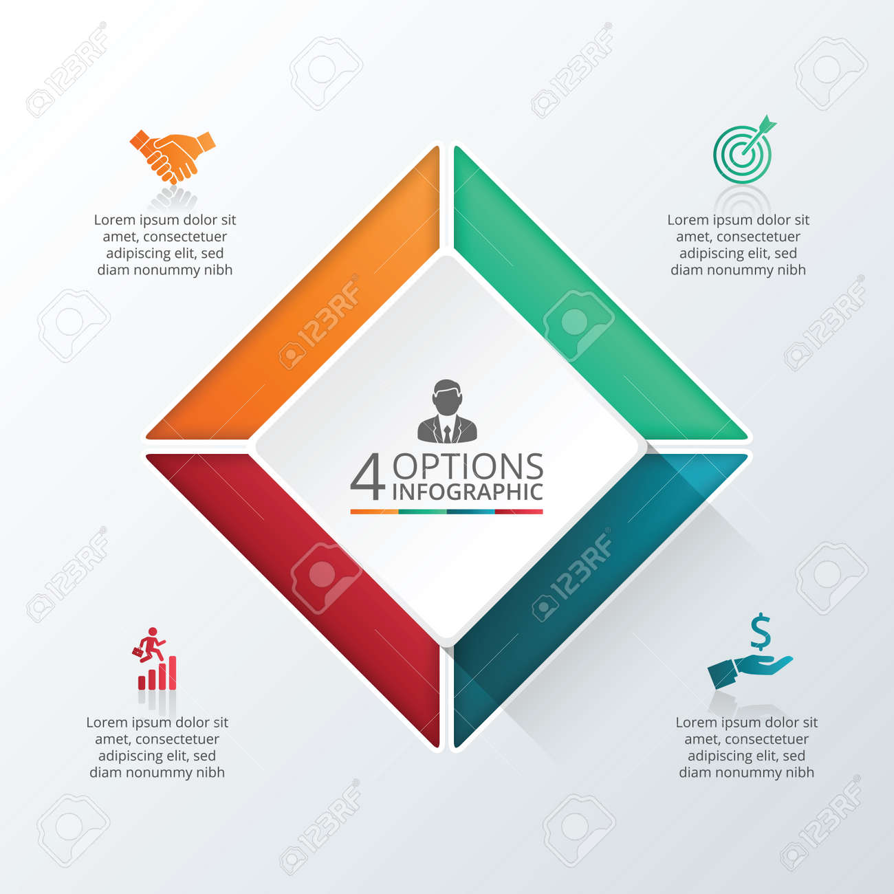Vector infographic square design template business concept with vector vector infographic square design template business concept with 4 options parts steps or processes can be used for workflow layout diagram cheaphphosting Images