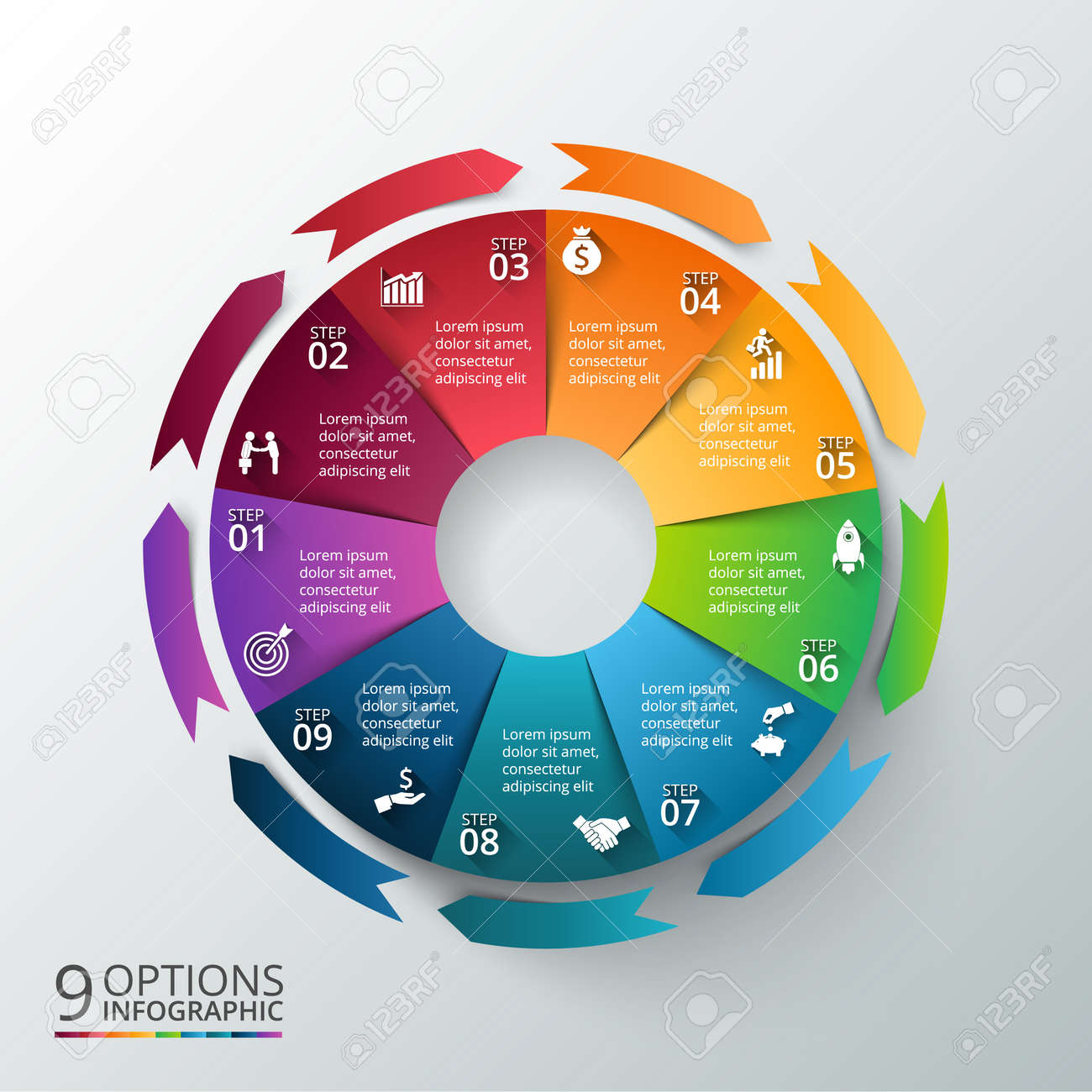 Vector circle with arrows for infographic template for cycle imagens vector circle with arrows for infographic template for cycle diagram graph presentation and round chart business concept with 9 options ccuart Choice Image