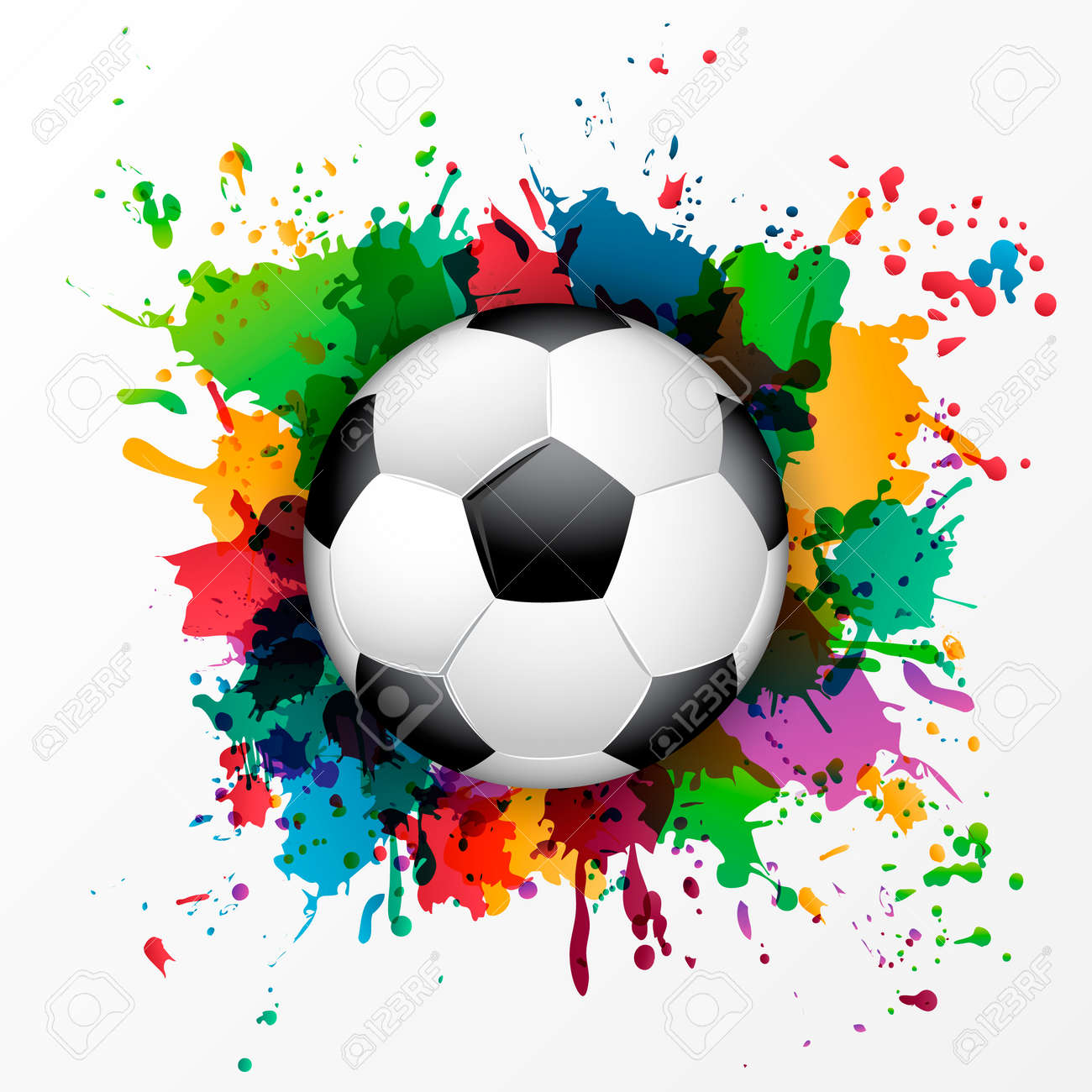 soccer ball with colorful spray paint template background royalty