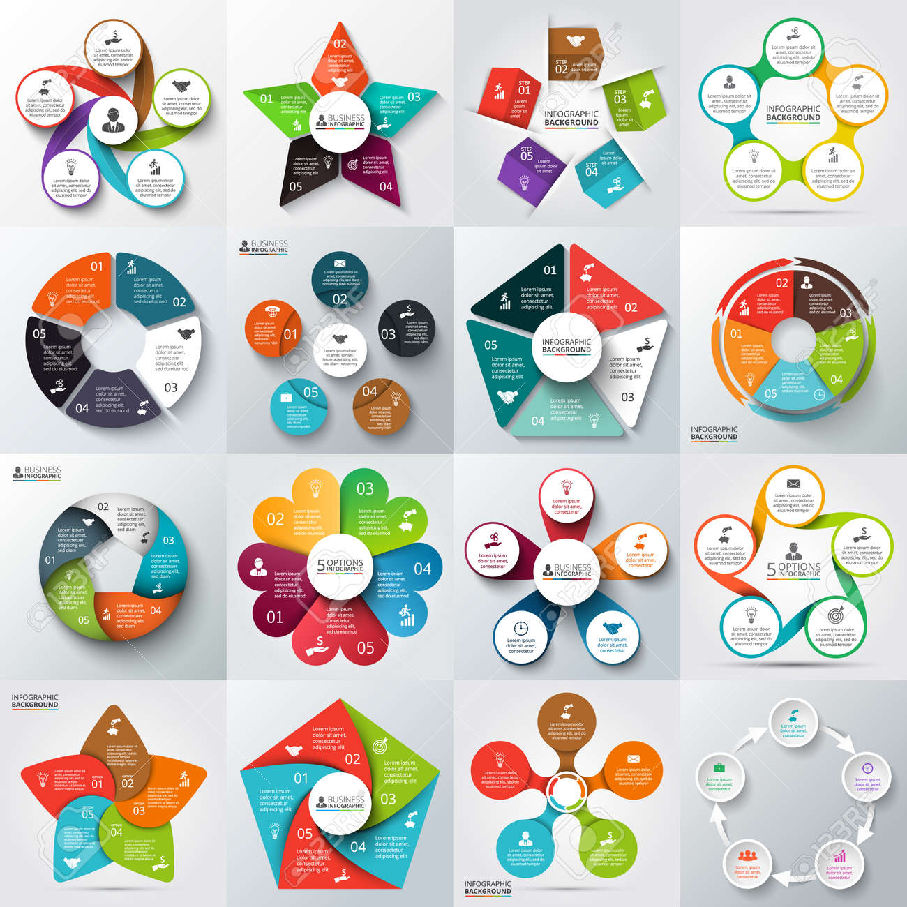Process cycling arrow by arrow royalty free stock images image - Big Set Of Vector Arrows Pentagons Circles And Other Elements For Infographic Template