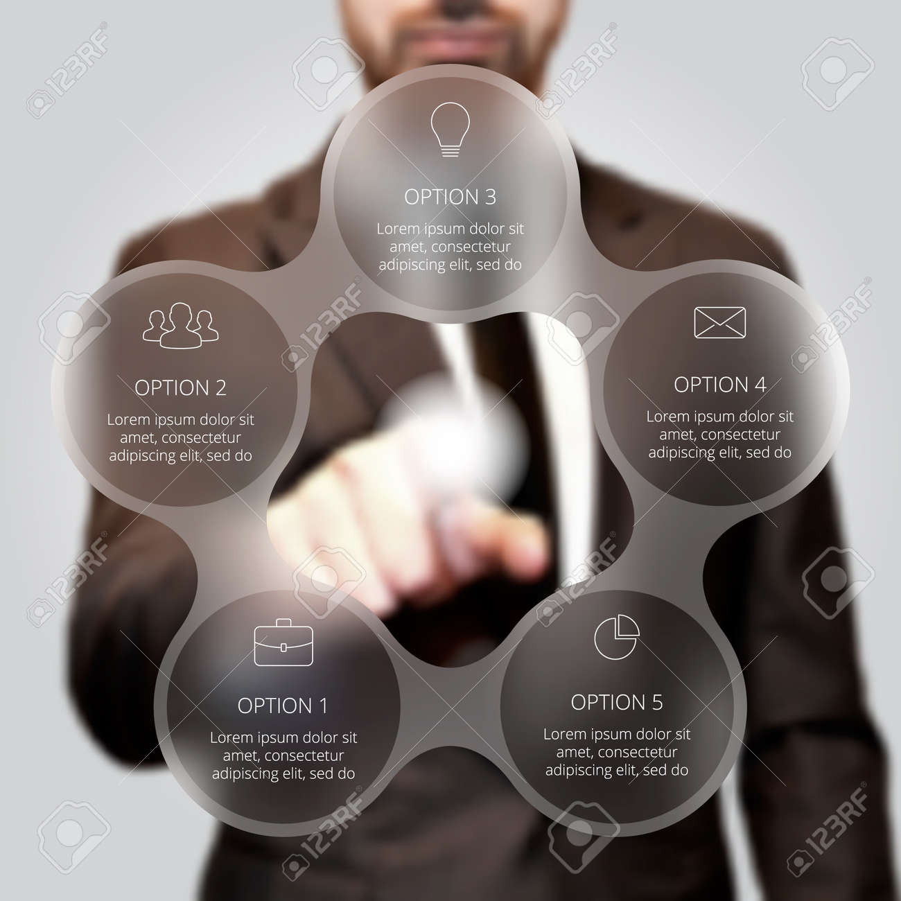 Businessman pressing button on a virtual background. Circle line infographic. Business concept with 5 options, parts, steps or processes. Linear graphic. Blur vector background. - 51079602