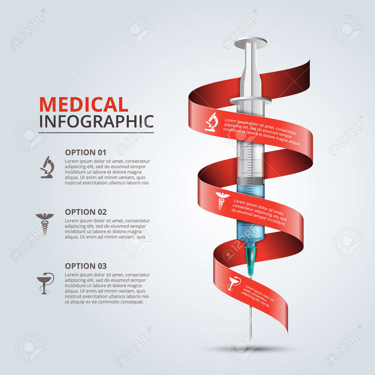Vector syringe with red ribbon for infographics. Template for diagram, graph, presentation and chart. Medical healthcare concept with 3 options, parts, steps or processes. Abstract background - 52002917