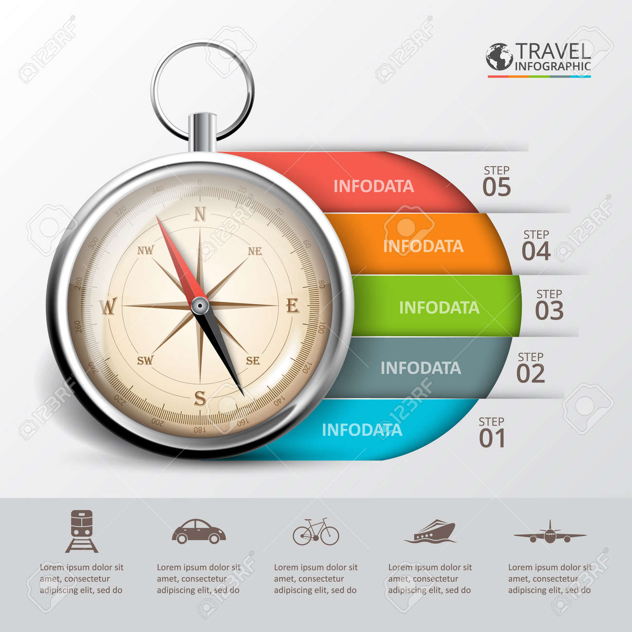 Vector travel infographic with a compass template for cycle vector travel infographic with a compass template for cycle diagram graph presentation and pooptronica