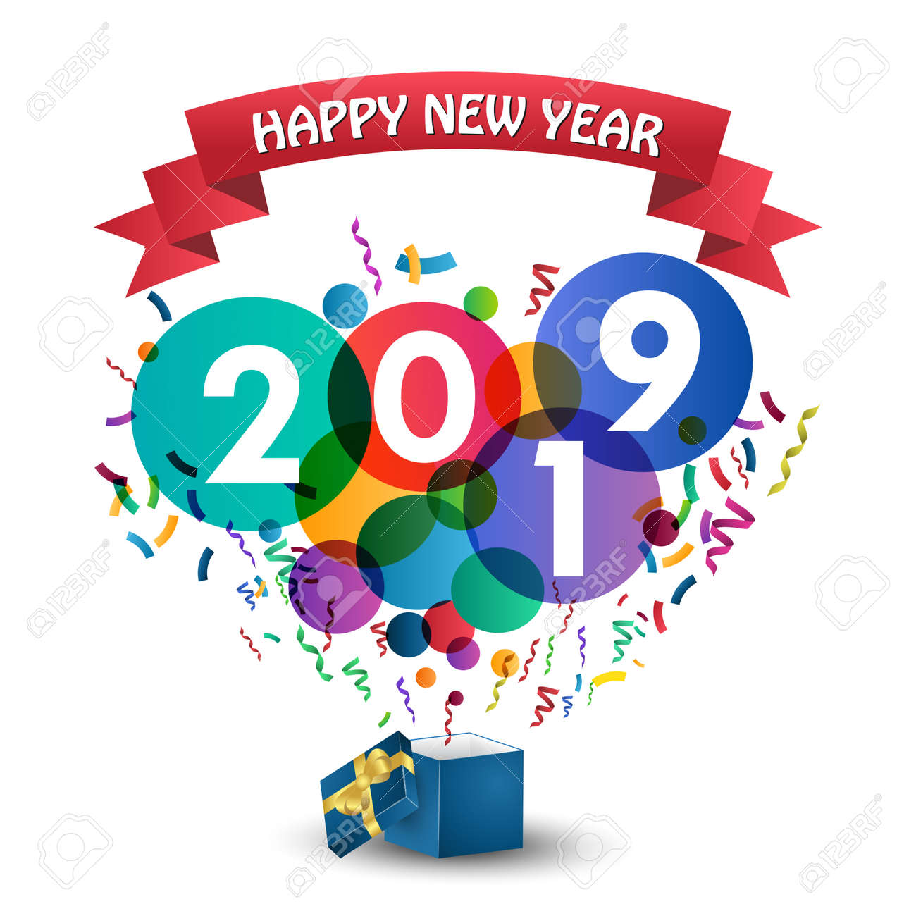 Happy new Year 2019 celebration with gift box. - 108535802