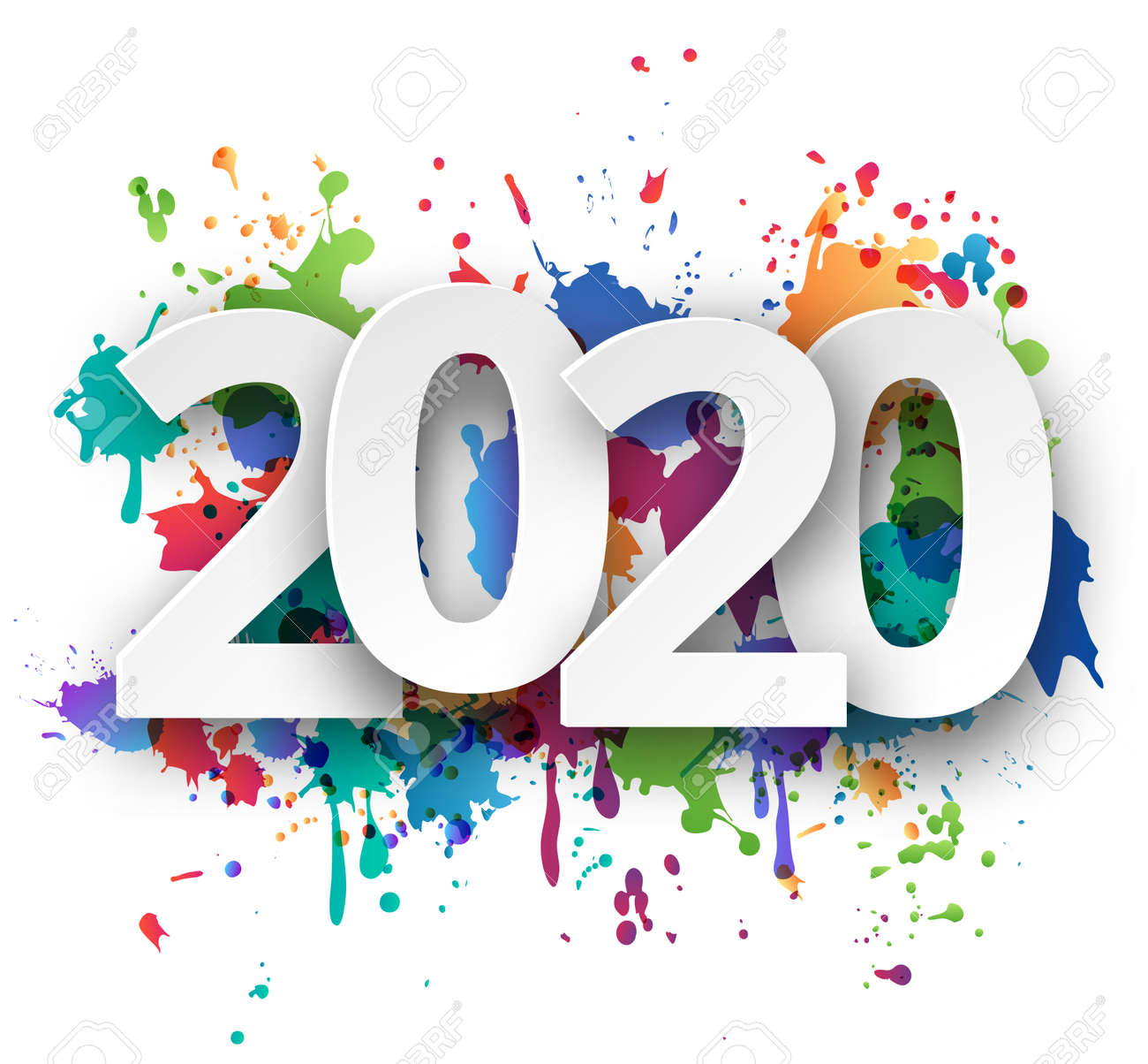 Happy new Year 2020 celebration with colorful spray paint template background. Vector paper illustration. - 133669439
