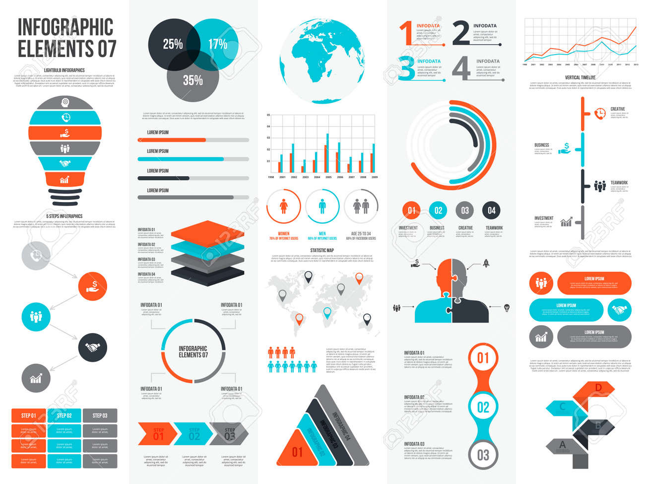 Big set of infographic elements. Can be used for steps, business processes, workflow, diagram, flowchart concept and timeline. Data visualization vector design template. - 133669565