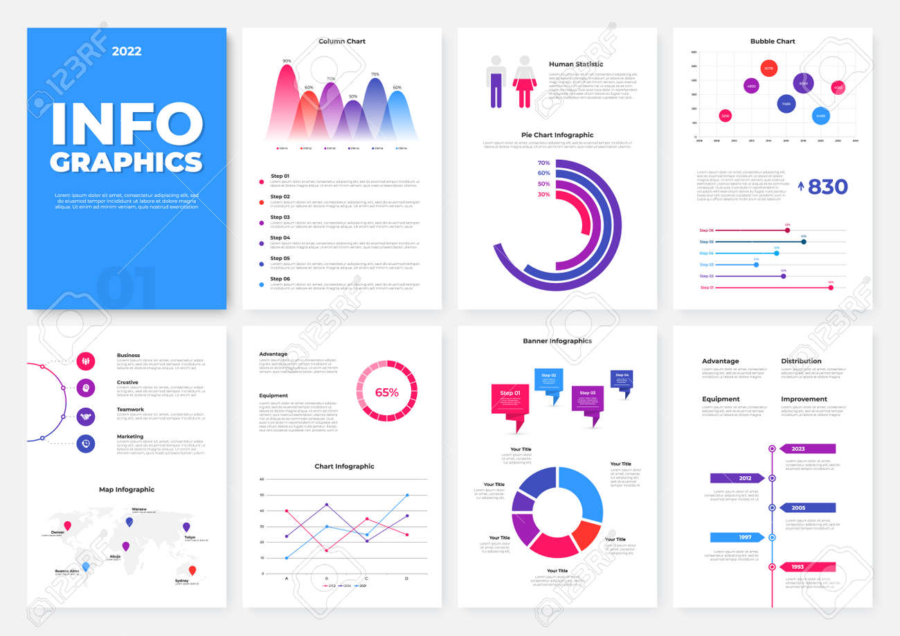 Infographic brochure template. A4 pages with charts, diagrams and workflow elements. Business data visualization concept. Vector illustration for presentation, statistical report, website - 169130282