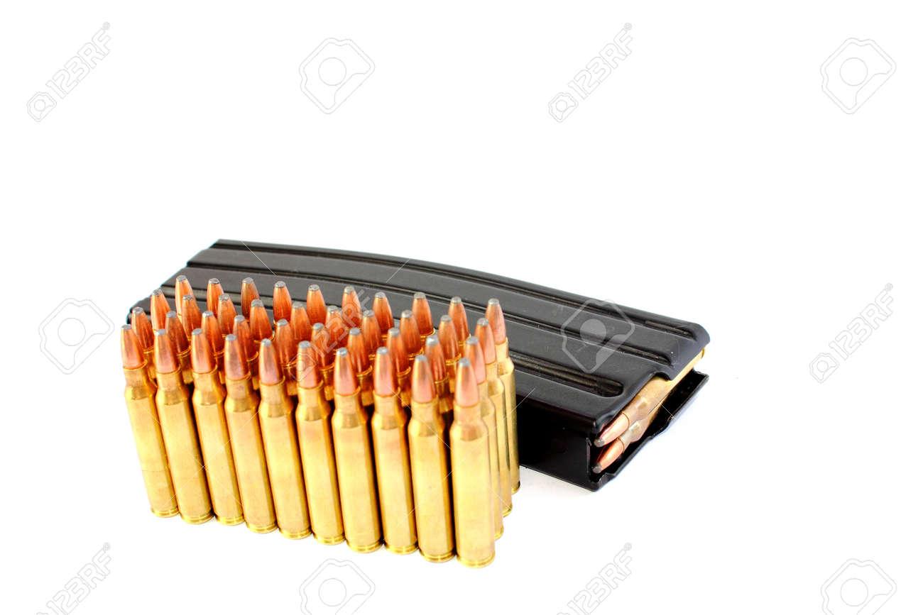 Isolated 223 Caliber Assault Rifle Ammo With Banana Clip Stock Photo