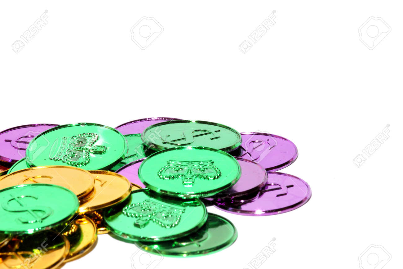 Isolated view of different mardi gras coins Stock Photo - 17667754