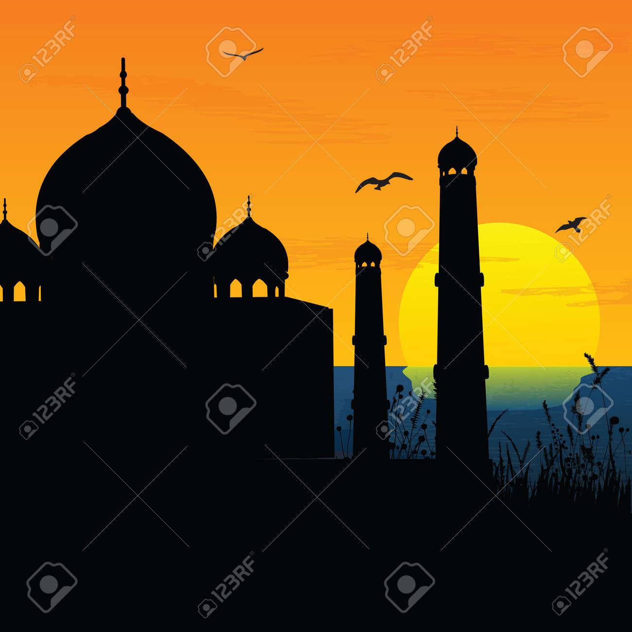Silhouette View Of Taj Mahal Agra India Sunrise Sunset