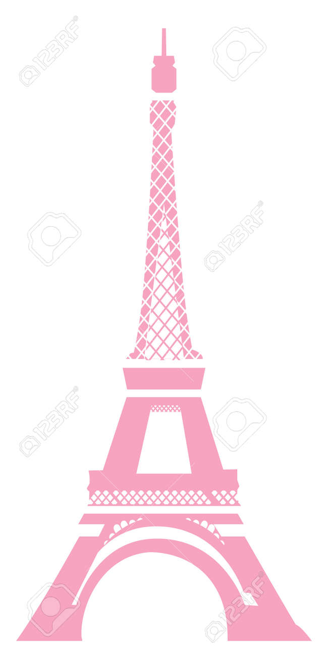 View Of Eiffel Tower In Pink With White Background Stock Photo