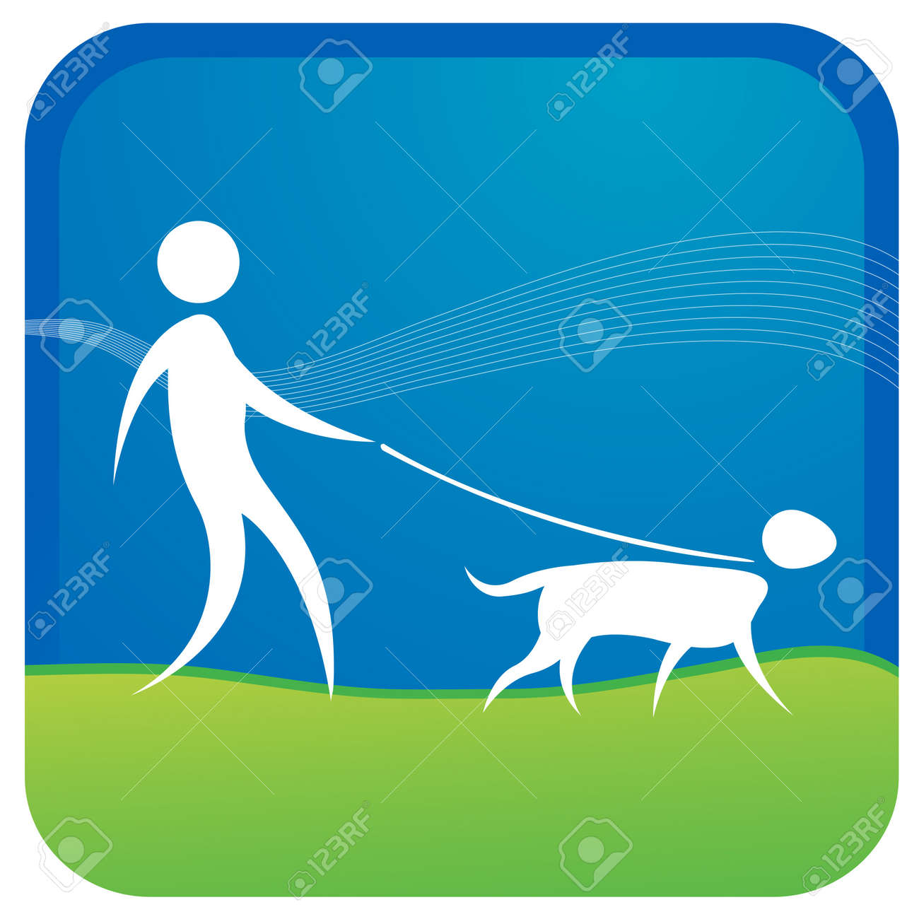 human taking adog for a walk Stock Vector - 7596827