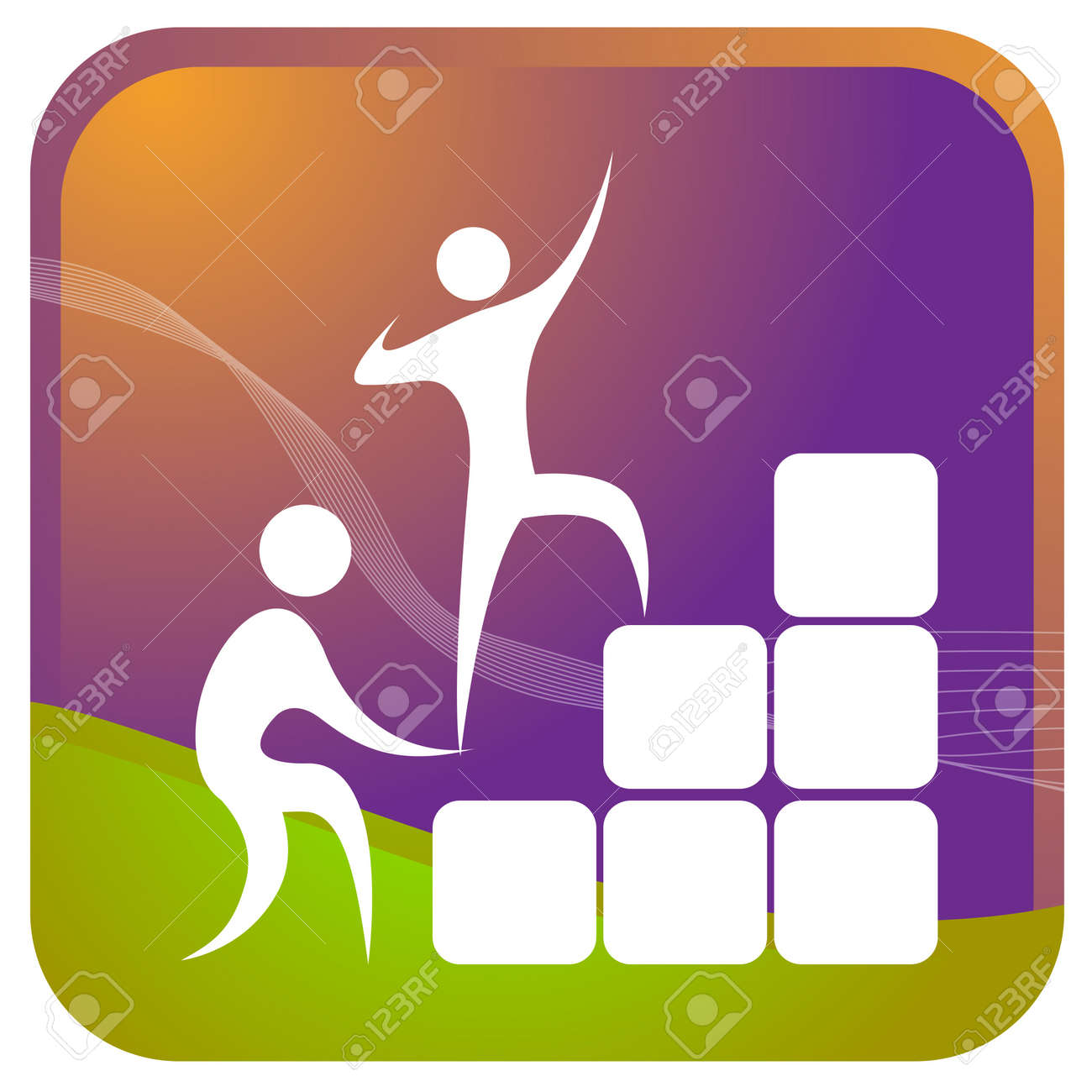 human helping each other to climb up the blocks Stock Vector - 7596908