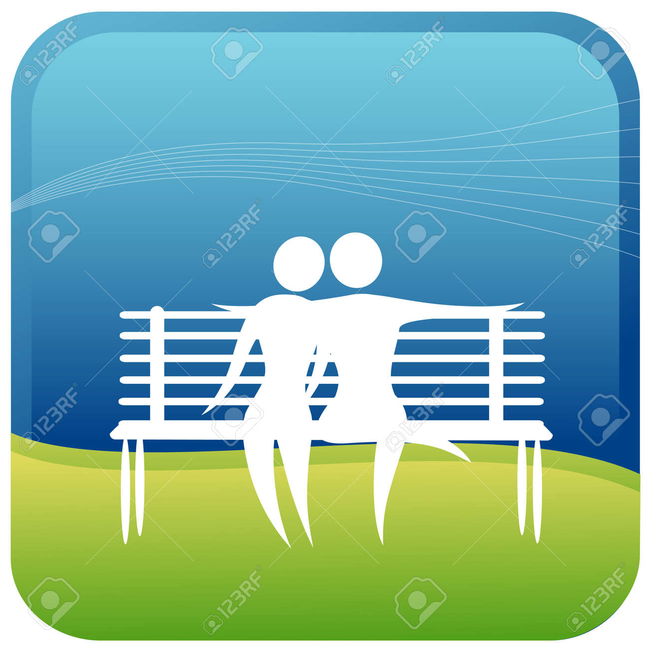 human couple embracing sitting on a park bench Stock Vector - 7596831