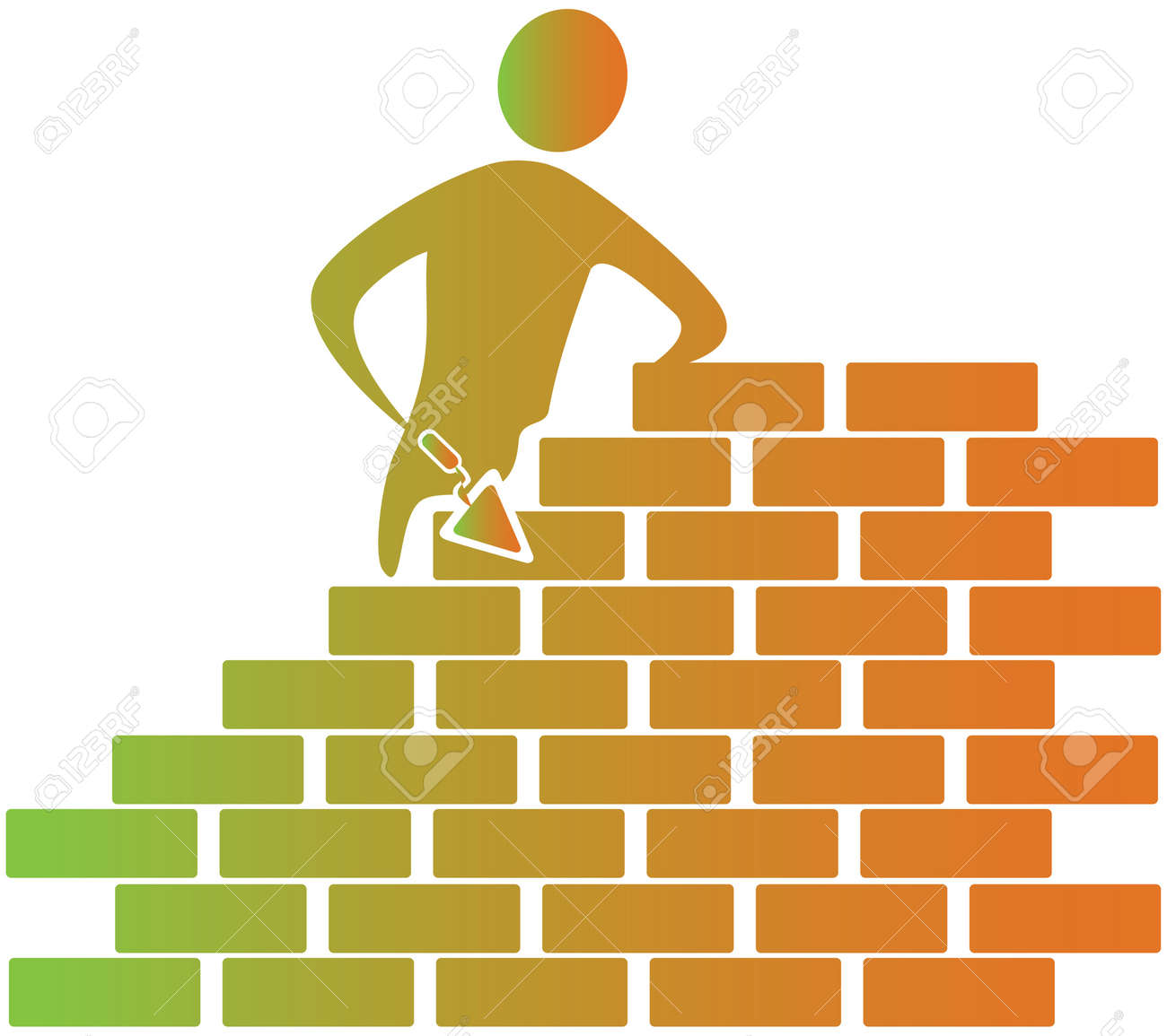 Mason Building Bricks With Tools Stock Photo, Picture And Royalty ...