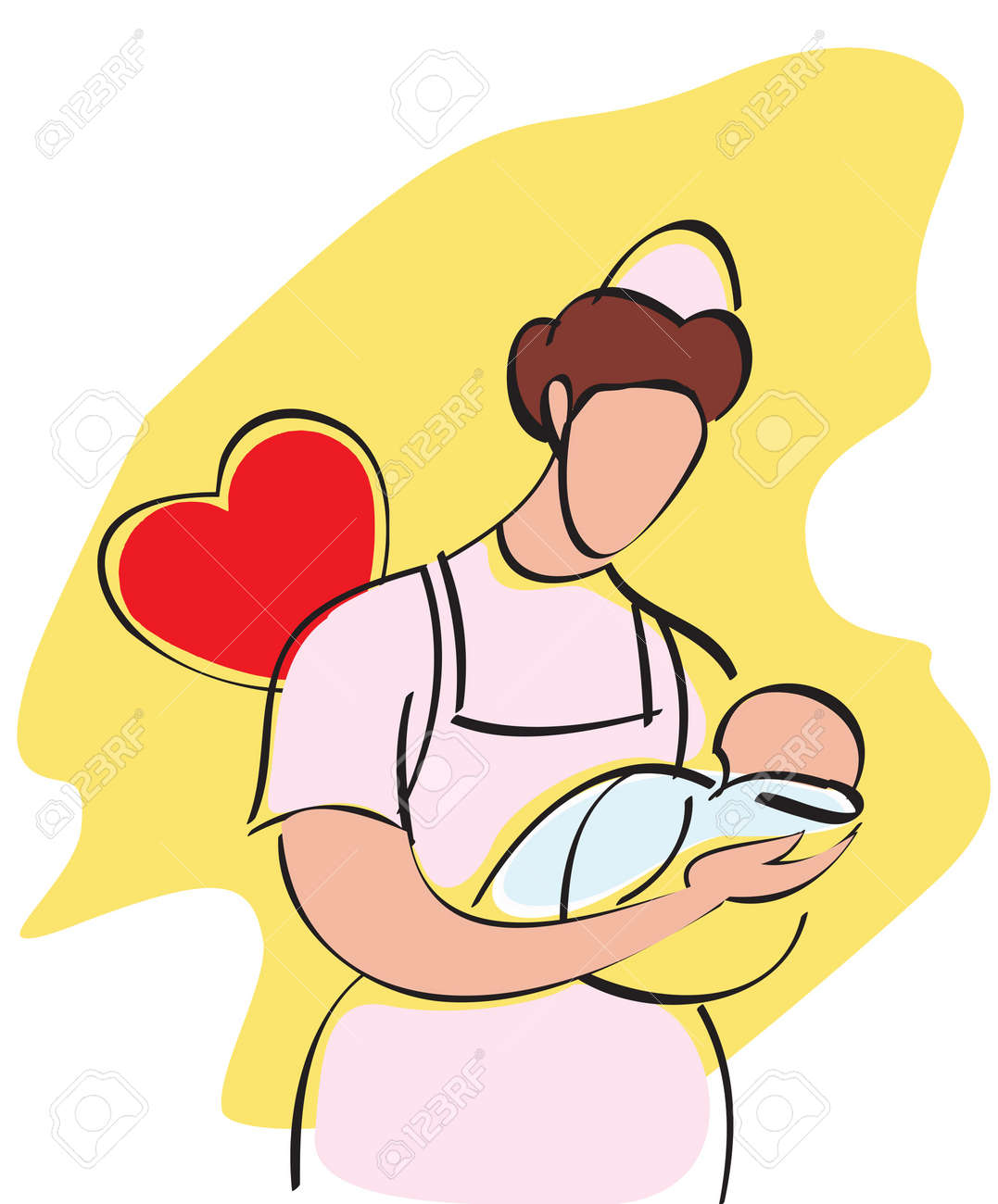Female nurse carrying a baby Stock Photo - 7861176