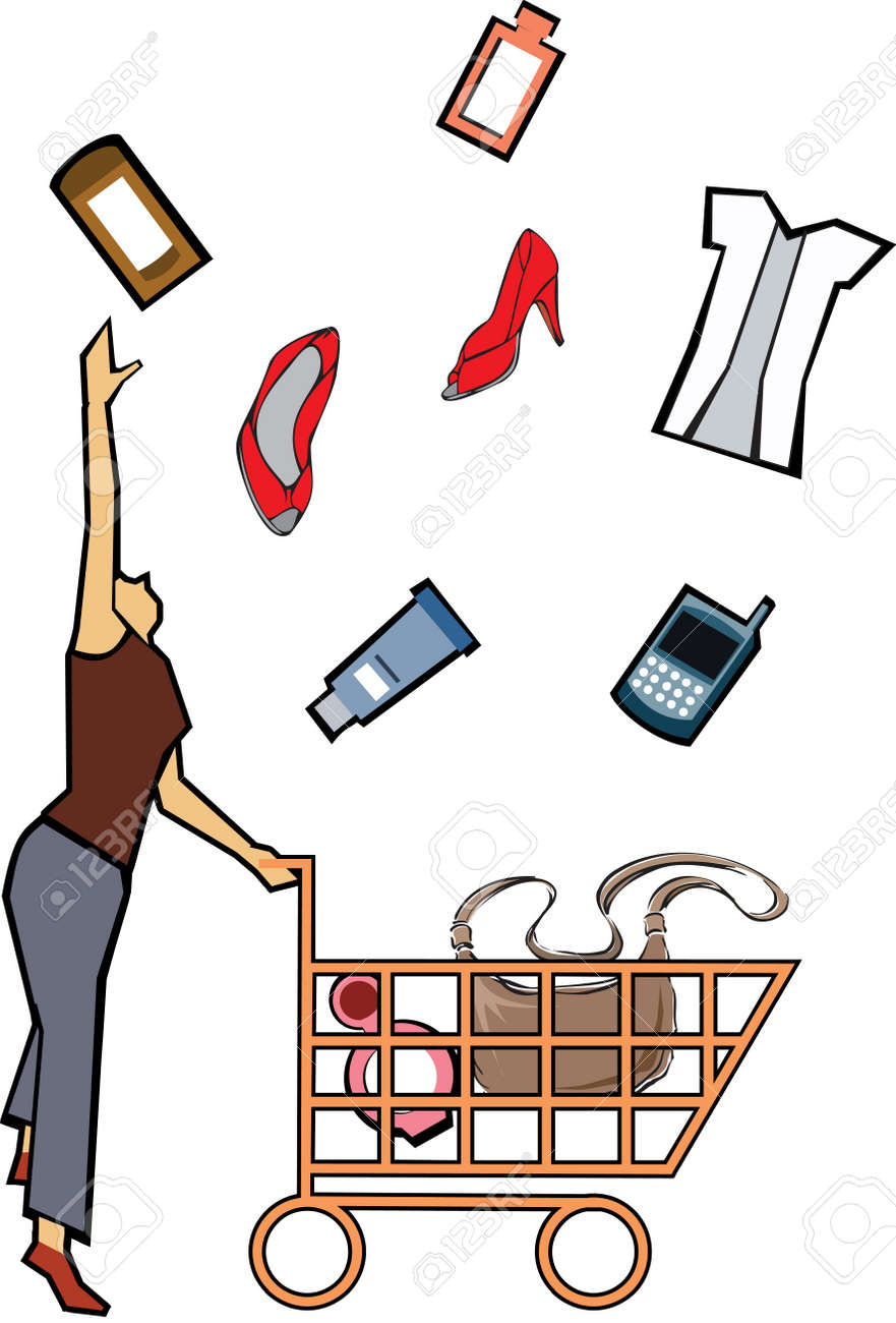 Woman catching shopping products Stock Photo - 7861296