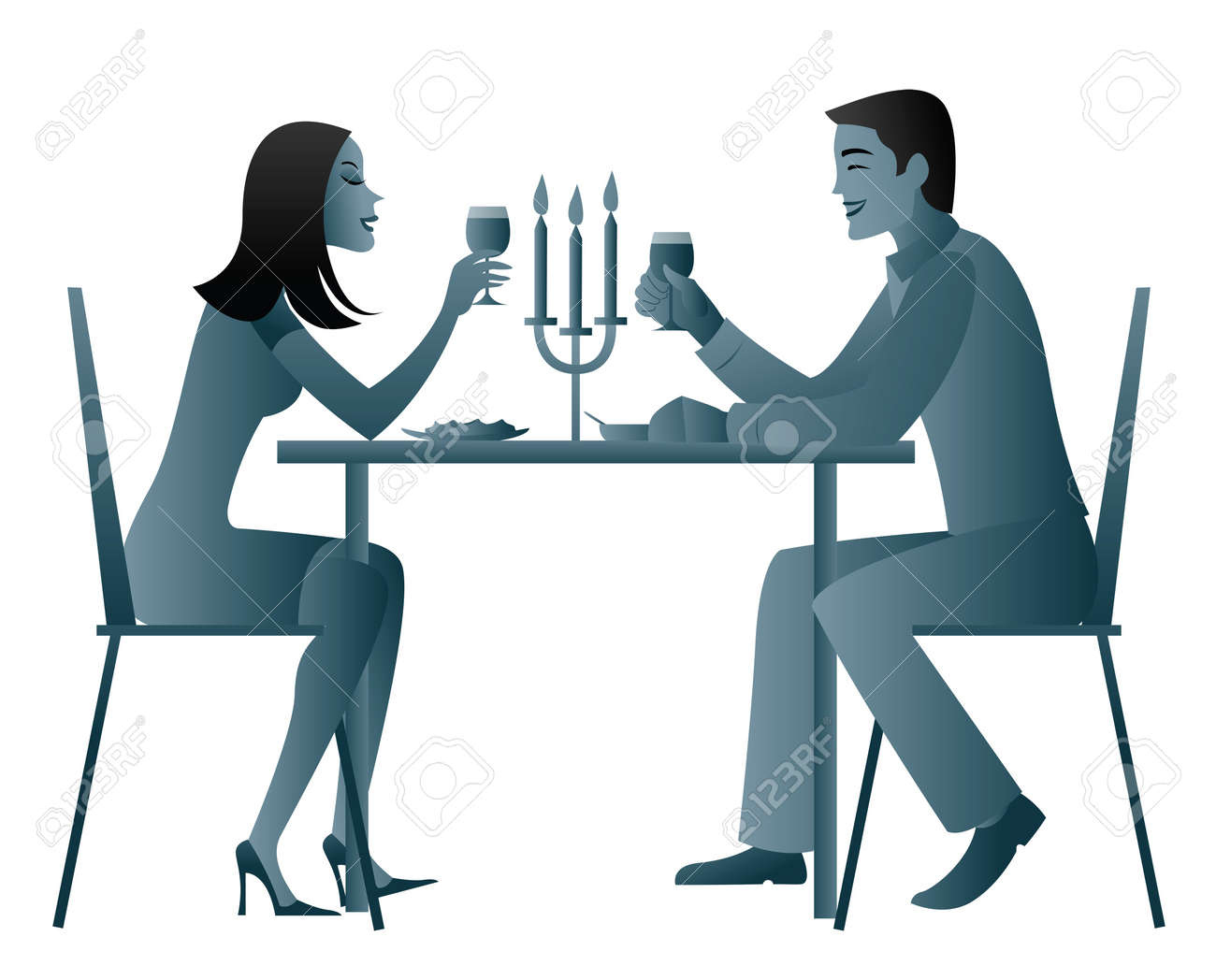 Candle light dinner table for two - Couple Eating Candlelight Dinner Stock Photo 7861157