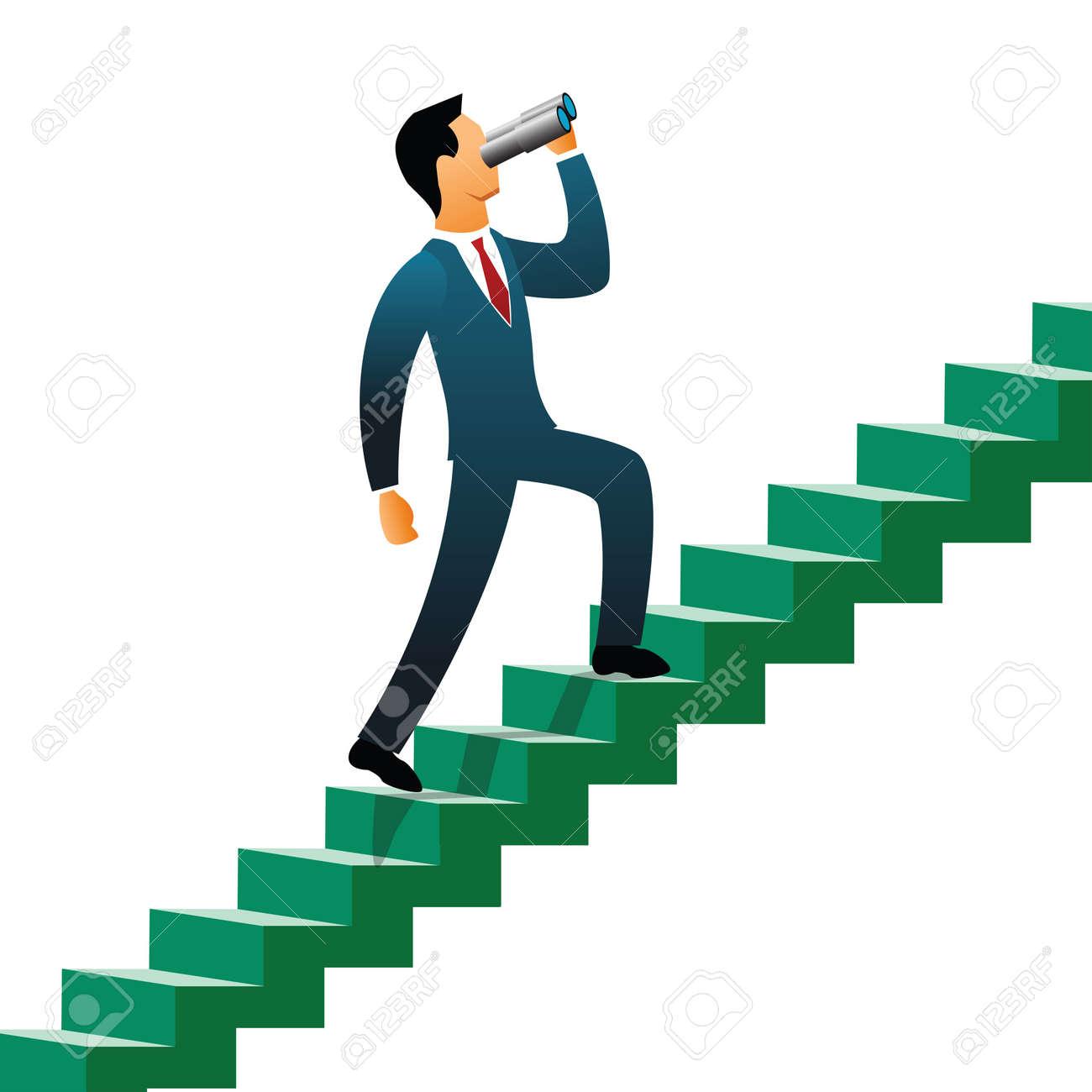 Businessmen climbing up steps Stock Photo - 9688280