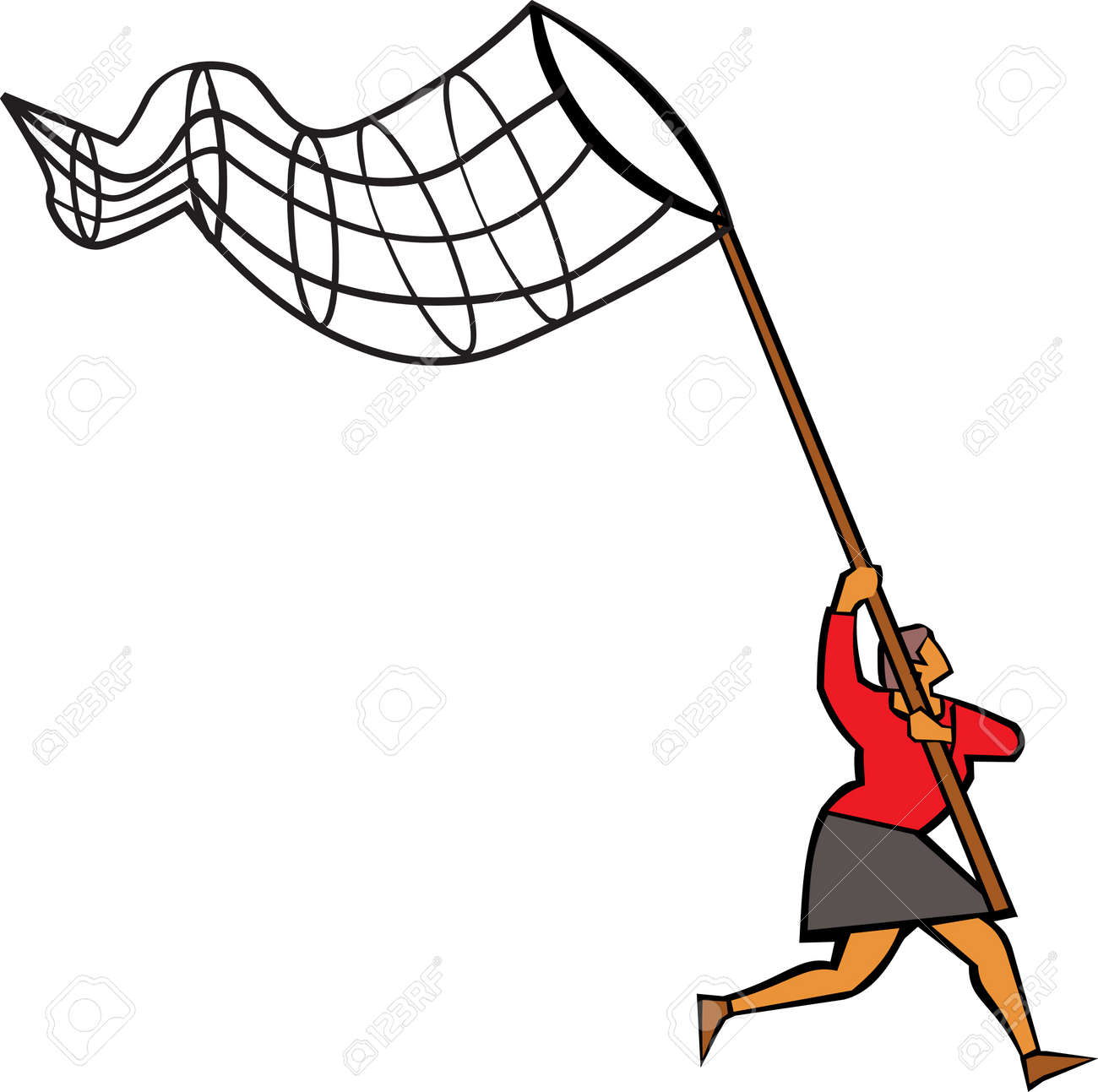 Woman using butterfly net to catch Stock Photo - 9688362