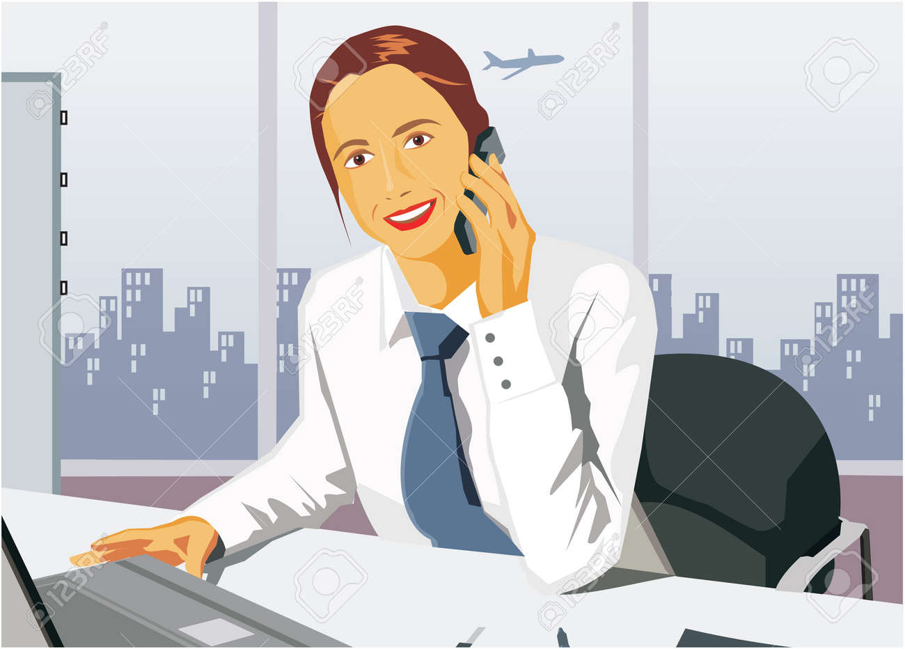 Front view of businesswoman smiling and talking on cell phone Stock Photo - 9688717