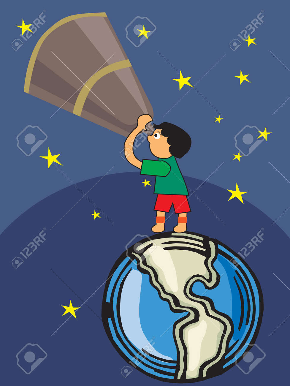 Boy looking through telescope towards sky Stock Photo - 9688766