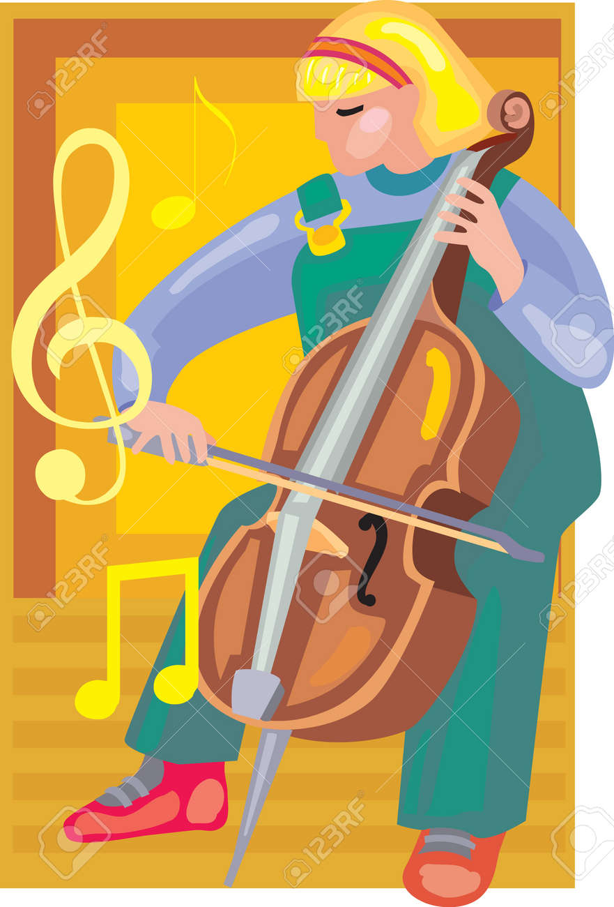 Front view of a girl playing violin Stock Photo - 9688843