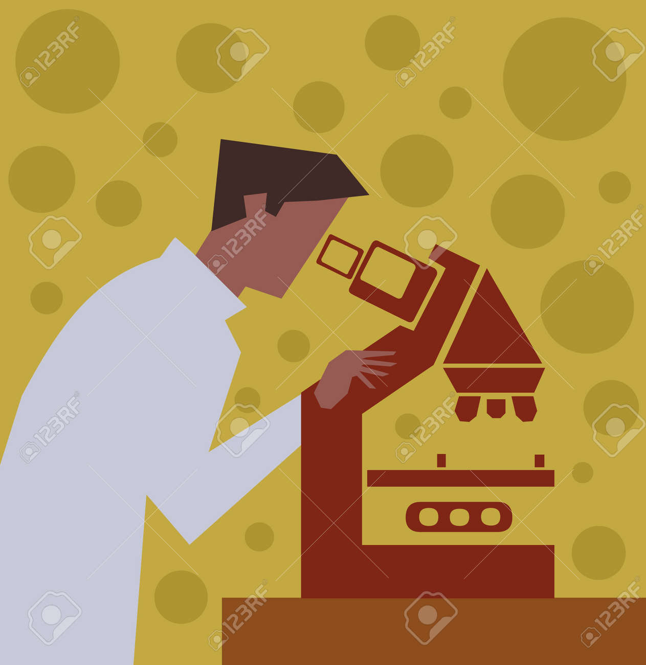 Side view of a scientist looking through a microscope Stock Photo - 9688477