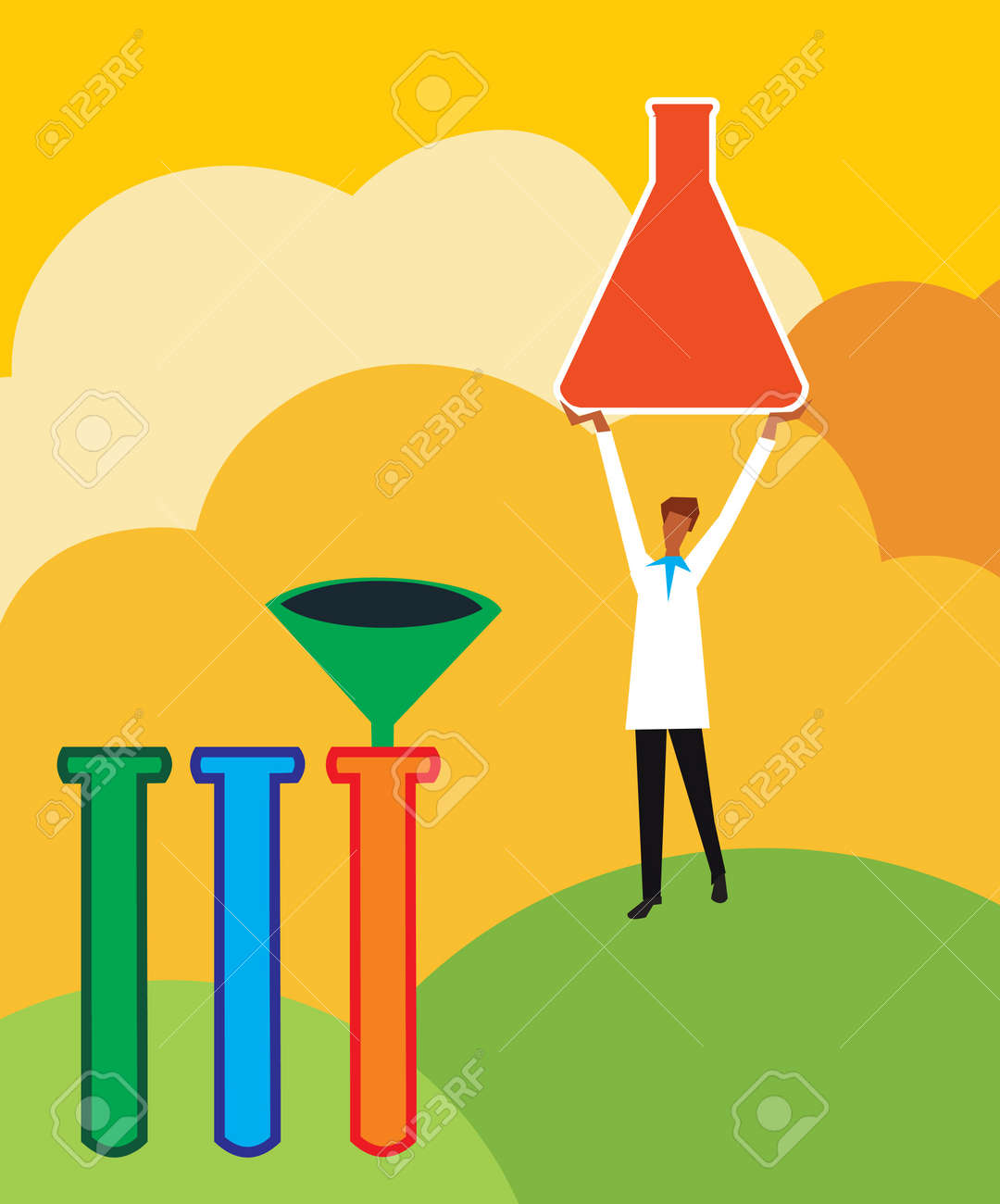 Front view of a scientist holding beaker Stock Photo - 9688482