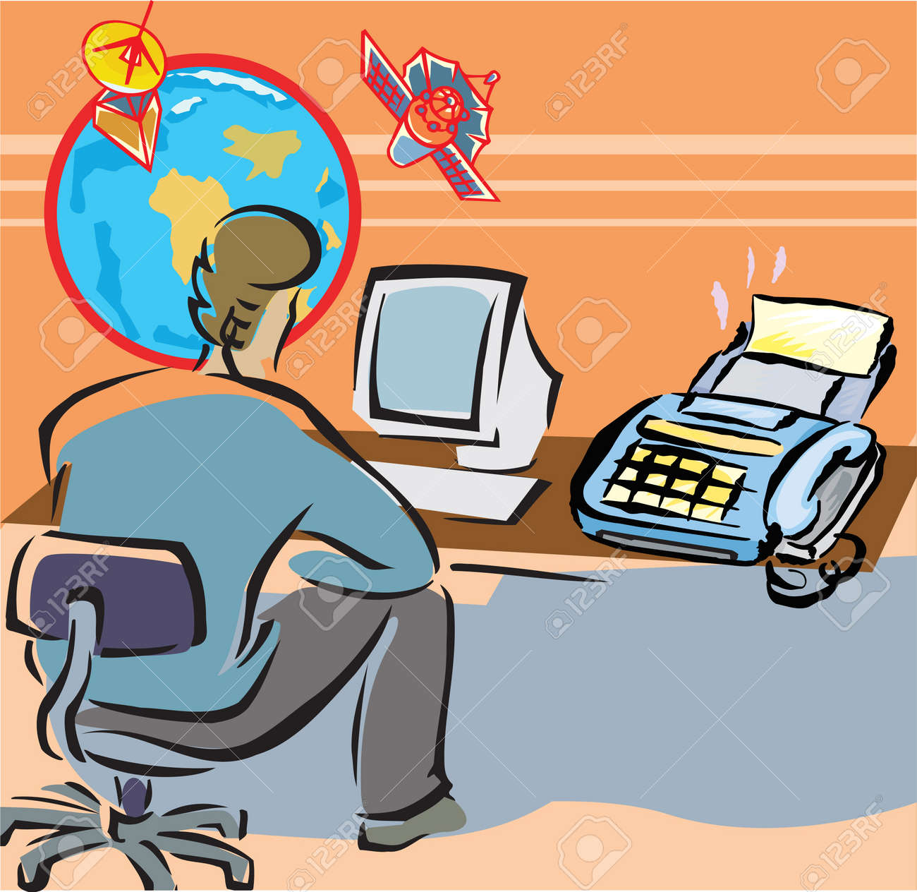 Rear view of a man working on computer in office Stock Photo - 9688943