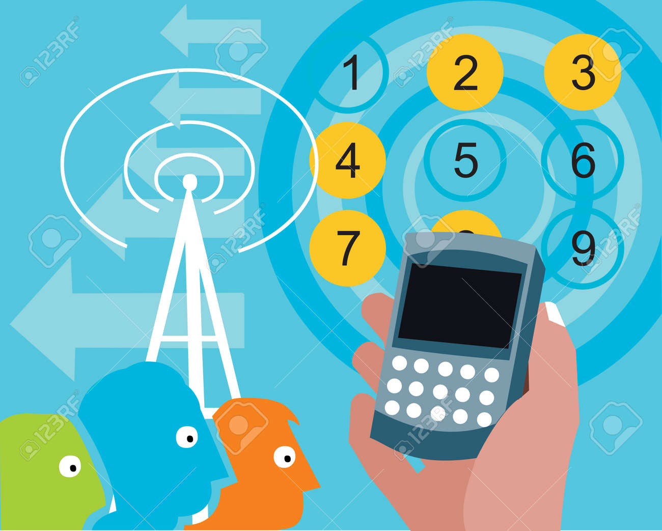 Cellphone in hand with tower and numbers Stock Photo - 9688816