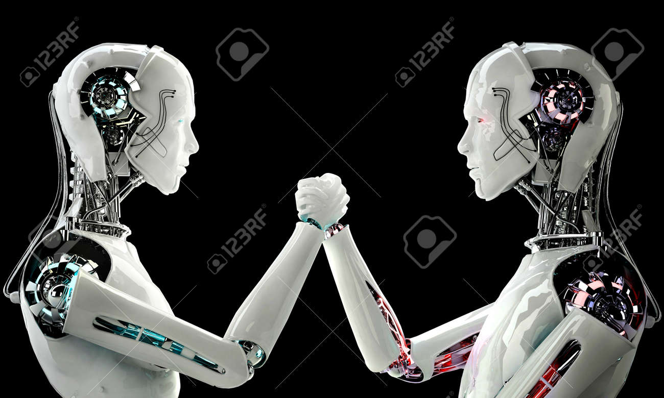 robot android men in competition Stock Photo - 22507265