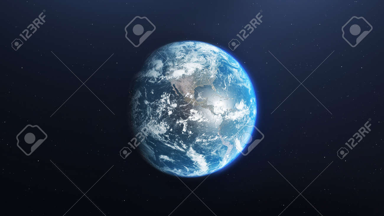Earth planet viewed from space, 3d render of planet Earth, elements of this image provided by NASA - 134751428