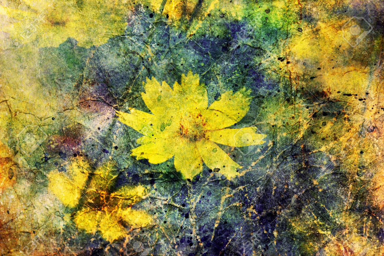 Cute Yellow Flowers And Watercolor Brushstrokes Stock Photo Picture