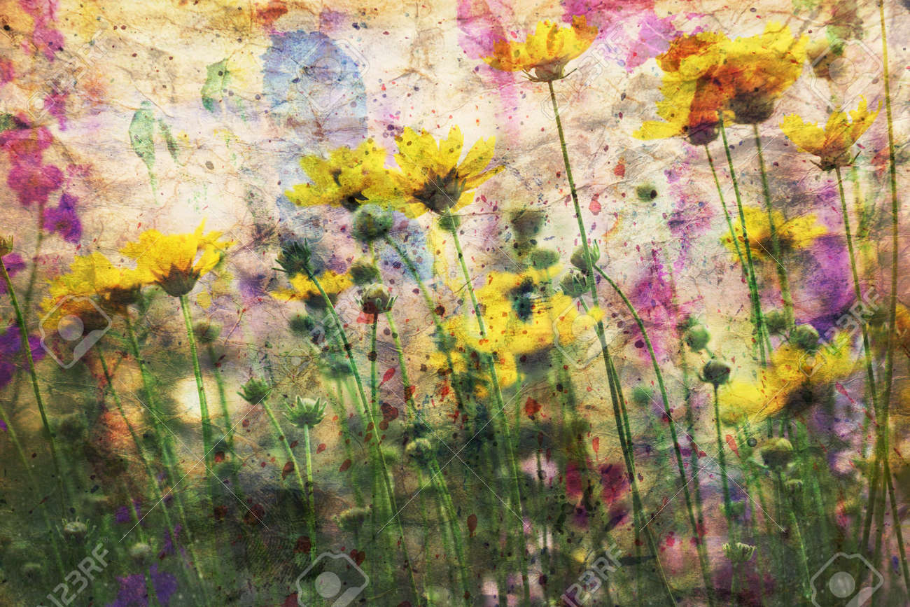 Cute Yellow Flowers And Watercolor Spatter Stock Photo Picture And