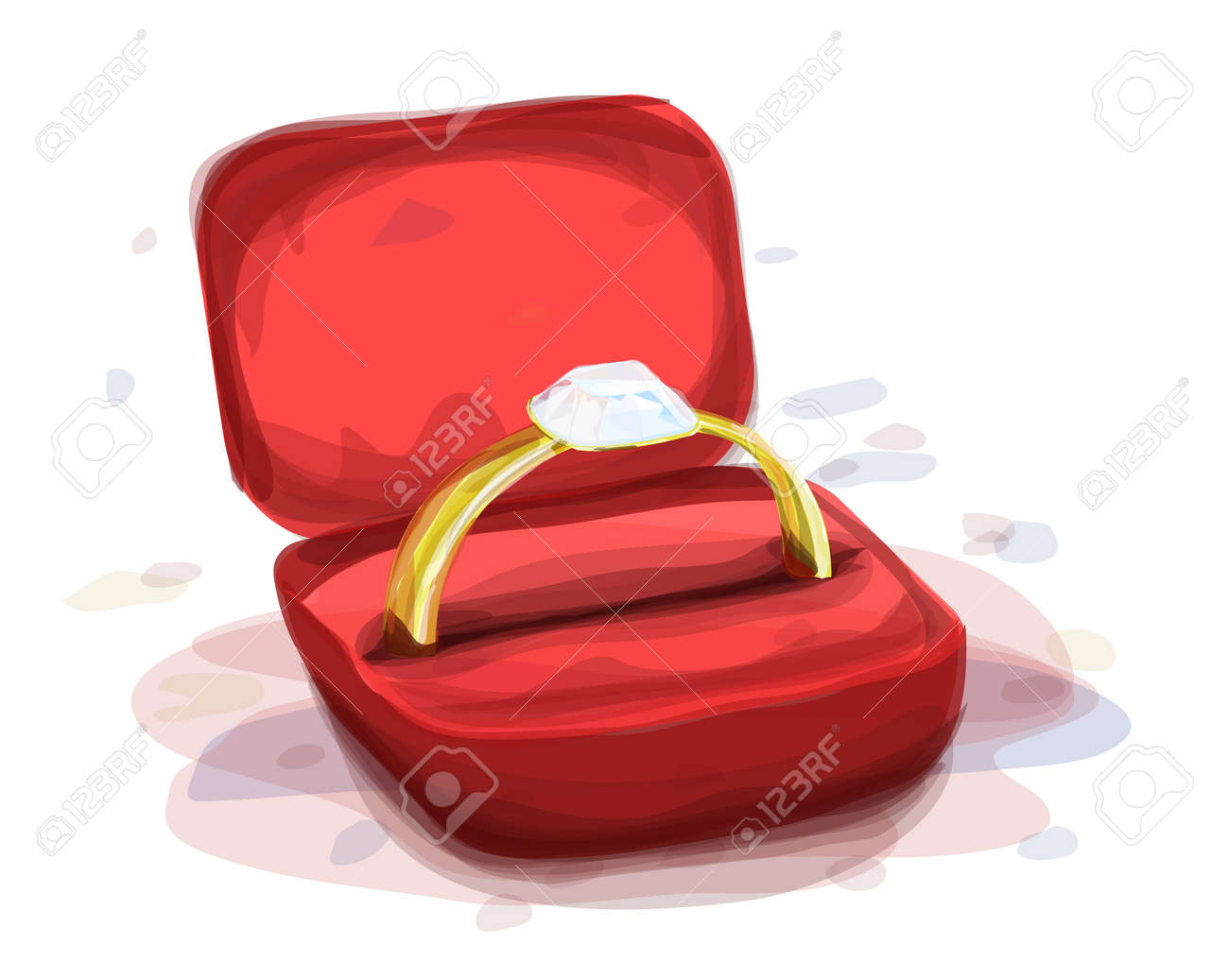 diamond ring in the red box, watercolor style, eps10 vector illustration Stock Vector - 15251808