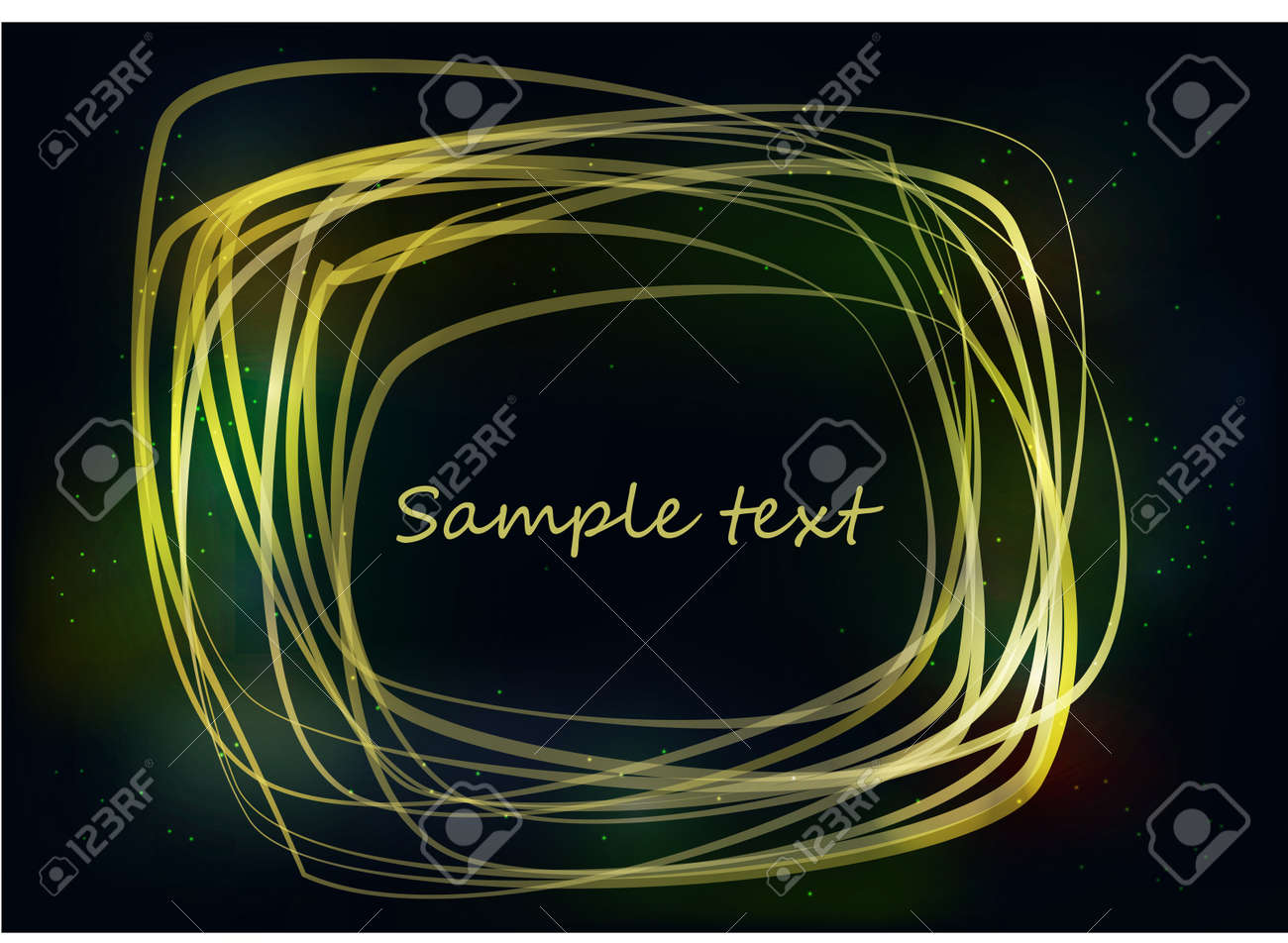 Yellow bright strokes forming an abstract frame on a dark background Stock Vector - 15528313