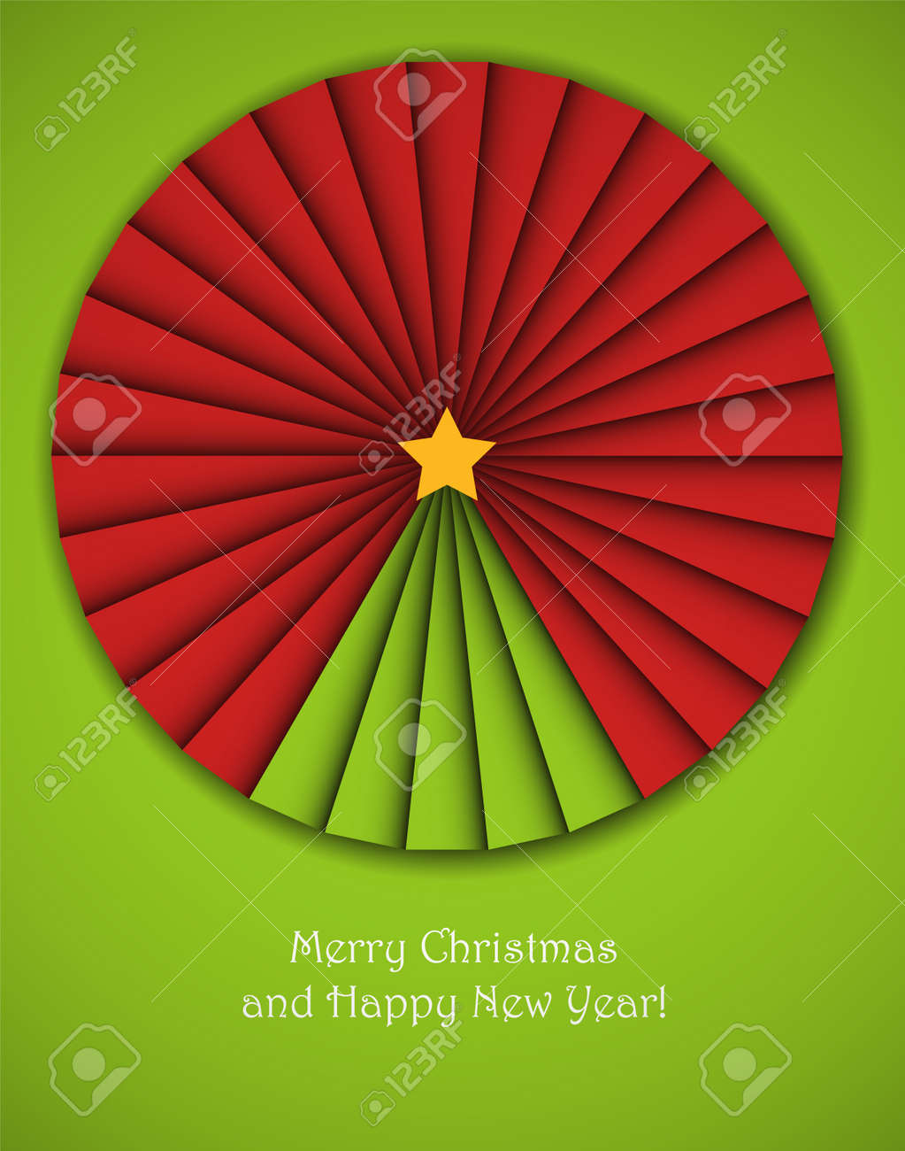 Christmas background with an origami decorative circle with a new year tree in it. Stock Vector - 15528361