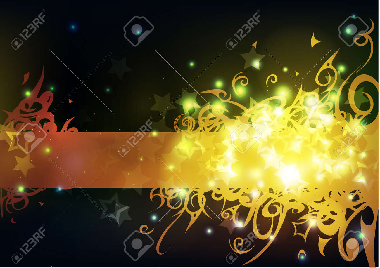 Bright yellow stripe with swirly pattern, stars and sparkles on a blurry black background. Stock Vector - 15442250