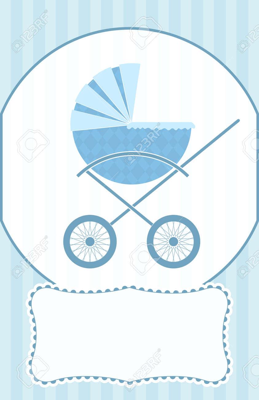 Un Azul Bebé Cochecito De Niño En Una Tarjeta De Baby Shower