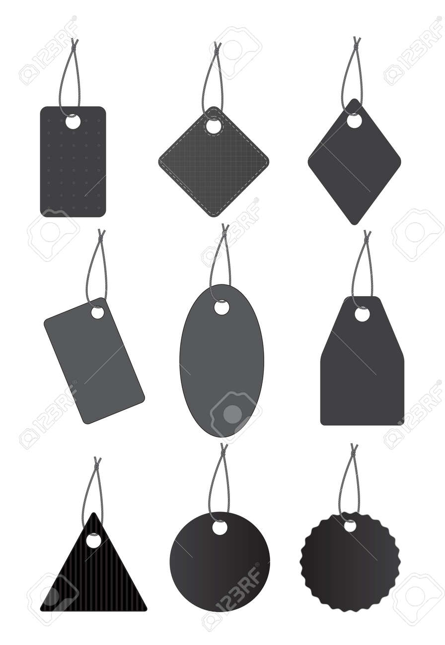 Set of black labels hanging on strings. Stock Vector - 15585964