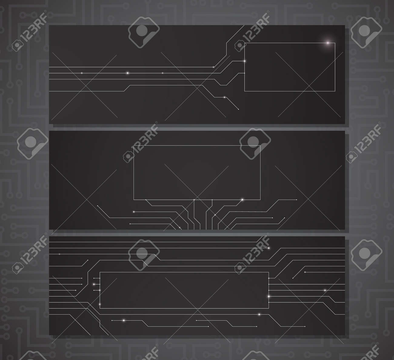 Three black horizontal banners with a place for your text with electric scheme elements and semiconductor tracks. Stock Vector - 15585955