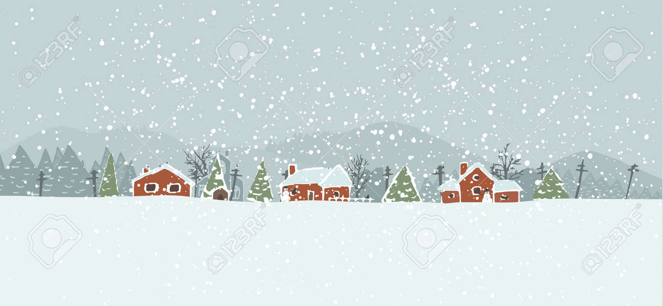 Winter background with a peaceful village in a snowy landscape. Christmas vector hand drawn background. Stock Vector - 16169261