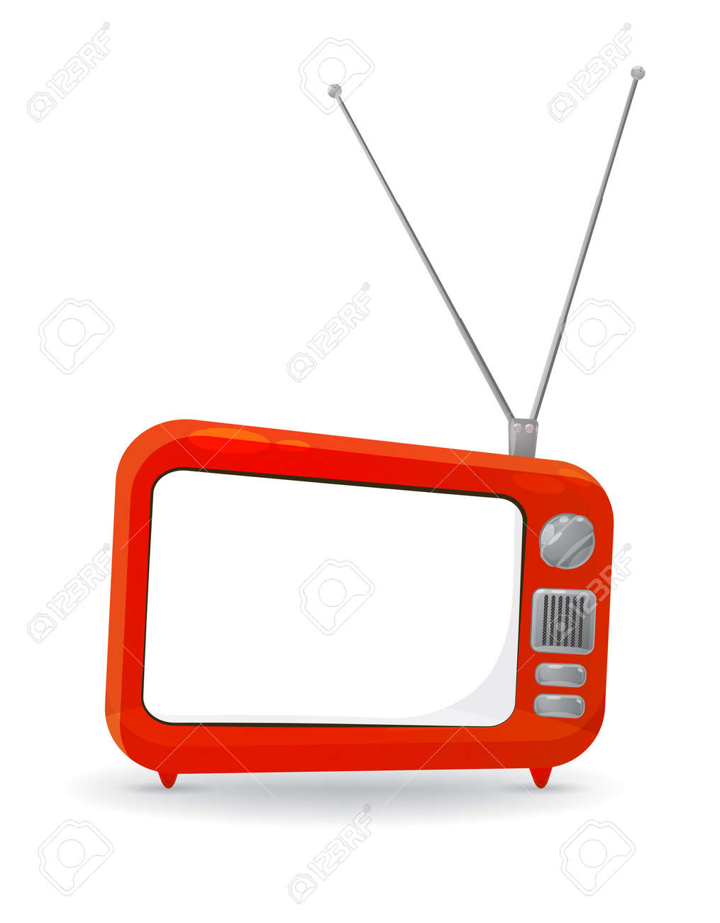 colorful cartoon style tv set with a blank copy space on the