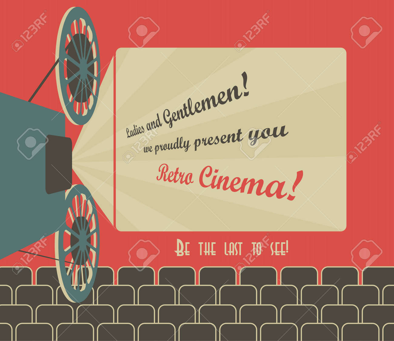 Old style poster for a retro cinema with a placeholder for your text Movie hall with a screen and seats Vector image - 16169241