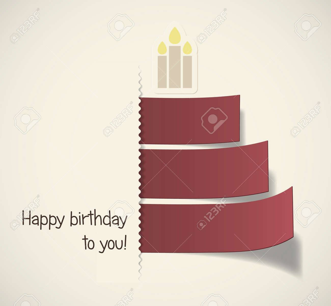 Stylish Birthday Cake Formed By Red Ribbons Eps10 Vector Royalty