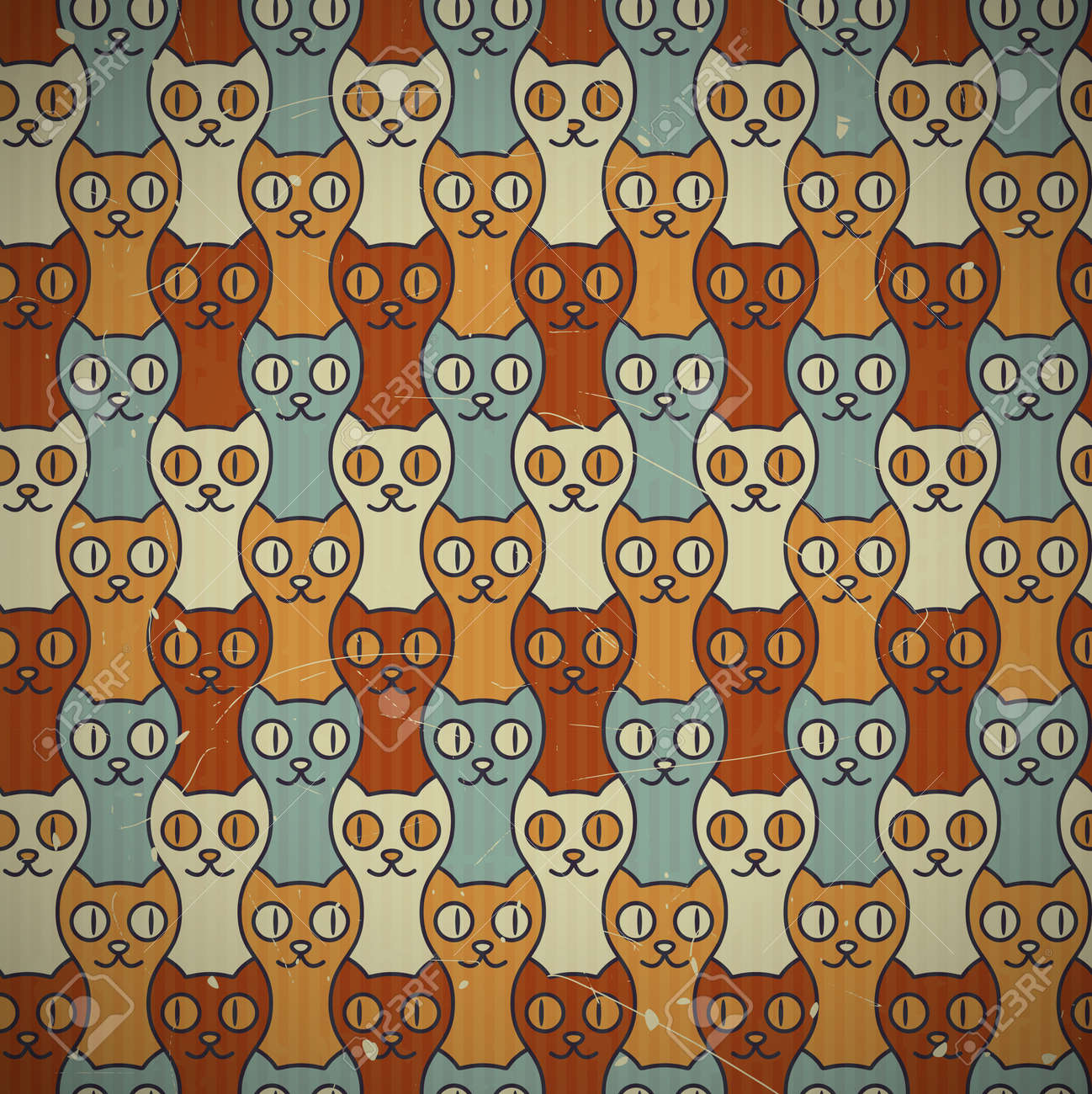 Cute retro cats seamless texture  EPS10 vector background  Scratches and grungy elements on a separate layer Stock Vector - 16169289