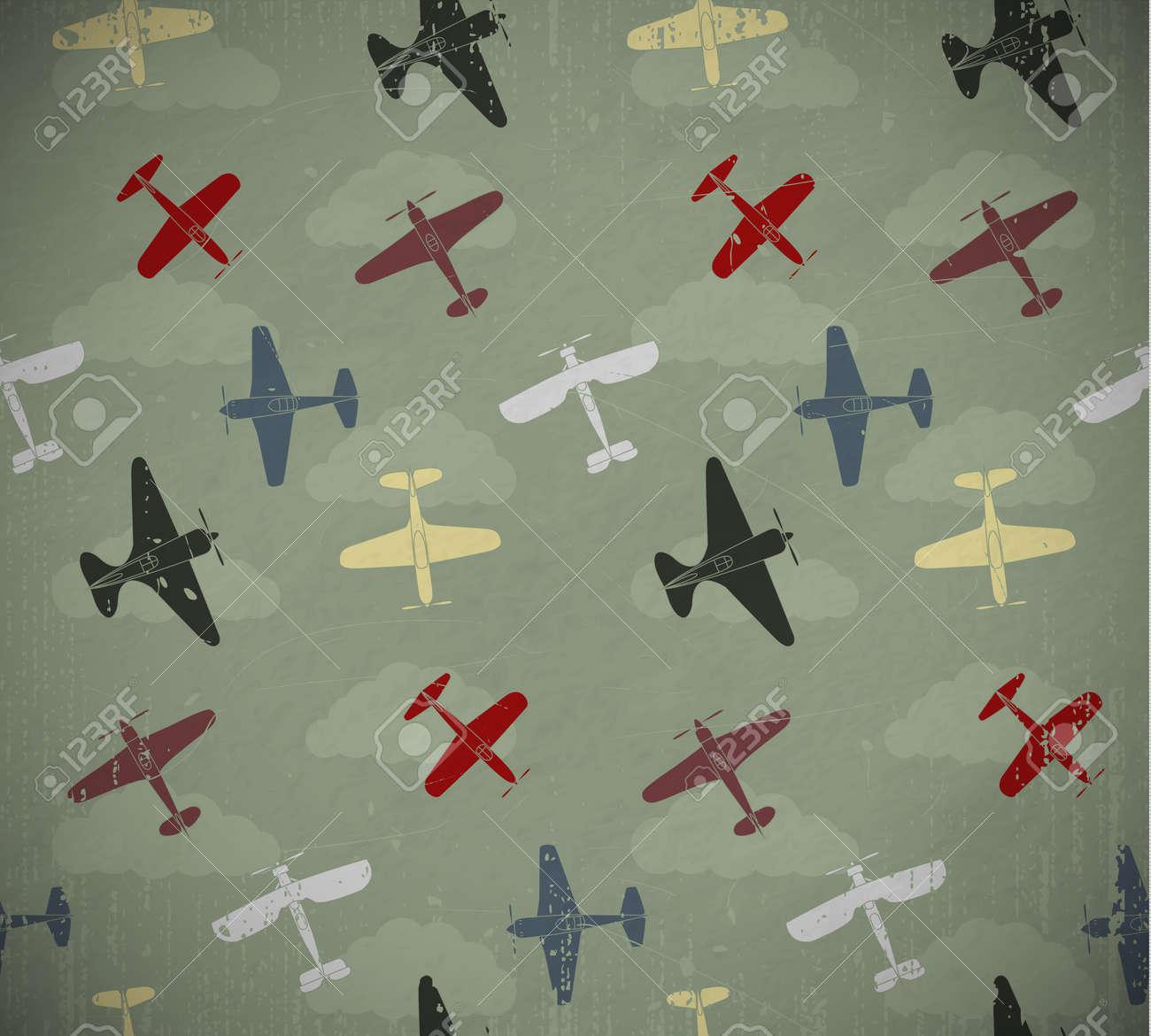 Retro seamless war planes pattern  EPS10 vector image Stock Vector - 16169291